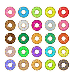 sweet donut set vector image