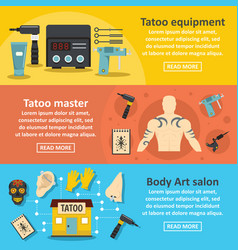 Tattoo studio banner horizontal set flat style vector