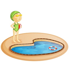 A young girl in the pool vector image vector image