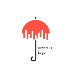 black and red umbrella logotype vector image