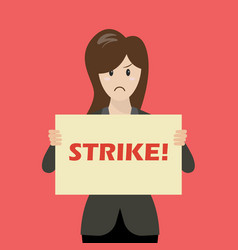 Business woman showing strike banner vector
