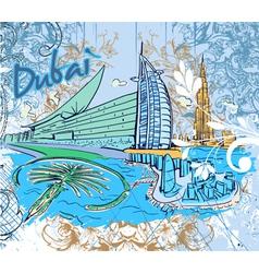 dubai doodles vector image