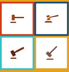 flat icon hammer set of justice tribunal defense vector image vector image