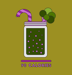 icon in flat design smoothies broccoli vector image