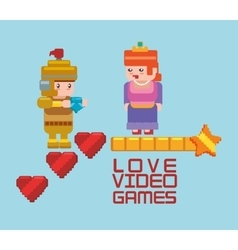 Love online games princess and knight heart vector
