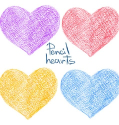 Set of colorful pencil drawing heart shapes vector image