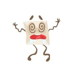 Dizzy Humanized Letter Paper Envelop Cartoon vector image vector image