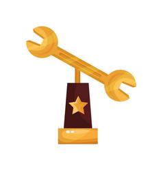 golden wrench award trophy statuette cartoon vector image vector image