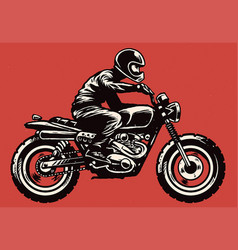 Hand drawing style man riding classic motorcycle vector