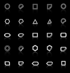Label line icons with reflect on black background vector image