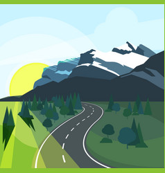 Panoramic summer landscape with environment and vector