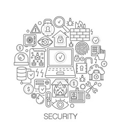 security in circle - concept line for vector image