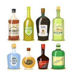 alcohol strong drinks in bottles cartoon glasses vector image vector image