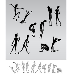 Emotional people cartoon silhouettes vector image vector image