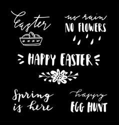 happy easter lettering set handwritten chalk vector image