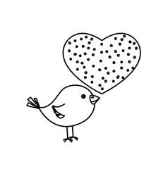 love heart with cute bird vector image vector image