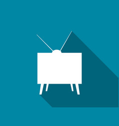 retro tv flat icon with long shadow vector image vector image