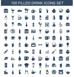 100 drink icons vector