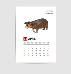 2016 April calendar Hippopotamus polygon vector