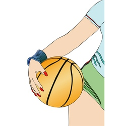 A basketball player with his ball vector