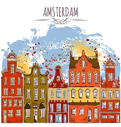 Amsterdam old historic buildings vector