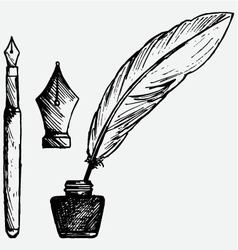 Ancient pen inkwell and old ink pen vector
