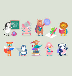 Back to school animals hand drawn style education vector