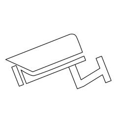 Black line surveillance camera vector