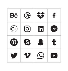 black social media icons in alphabetical order vector image