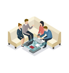 business meeting with clients isometric 3d icon vector image