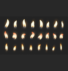 candle flame realistic fire light effects vector image