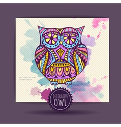 Card with decorative owl and watercolor stain vector