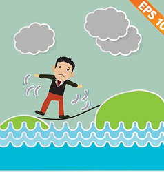 Cartoon Businessman walking on the rope - - vector image