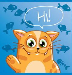 cartoon cat hi vector image