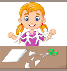 cartoon little girl making paper people vector image