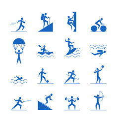 cartoon outdoor activities sports games blue icons vector image vector image