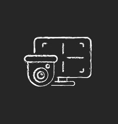 Cctv monitor chalk white icon on dark background vector