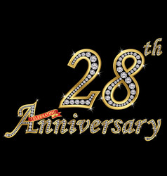 celebrating 28th anniversary golden sign vector image