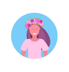 cheerful woman face avatar girl in wreath of vector image