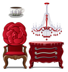 Chest of drawers chandelier chair and cup vector