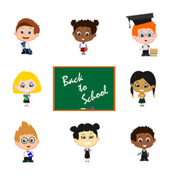 children with blackboard vector image
