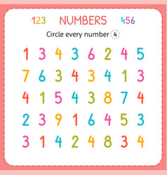 Circle every number four numbers for kids vector