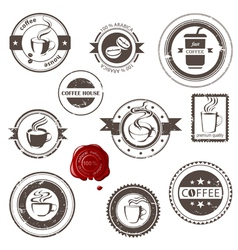 coffee stamps set vector image