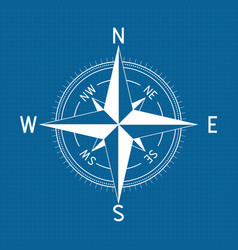 compass wind rose on blue vector image