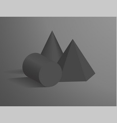 cone cylinder and hexagonal pyramid 3d shapes vector image