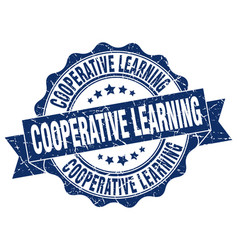 cooperative learning stamp sign seal vector image