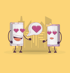 couple of smartphones comic character vector image