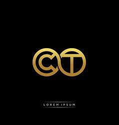 Ct initial letter linked circle capital monogram vector