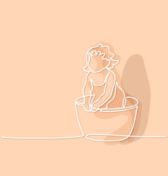 Cute baby is bathing in trough vector