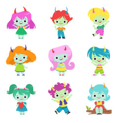 cute horned trolls boys and girls set adorable vector image